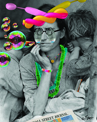 """Happier Times"" (barry.kite@att.net) Tags: balloons bubbles dustbowl depression leis happypeople dorothea wallstreetjournal lange funnyglasses hardtimes happyfaces poorpeople migrantmother"