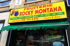 Fruiterie Rocky Montana, Montreal (Exile on Ontario St) Tags: green fruits vegetables sign yellow marie fruit facade jaune awning marquee daylight milk strawberry commerce open montral market drawing montreal eggplant mary nuts vert supermarket dessin queen business lottery queenmary delivery lait aubergine grocerystore grocery groceries reine march chemin faade awnings fraise lgumes loto signe affiche enseigne notredamedegrace ndg picerie noix supermarch ouvert loterie auvent livraison notredamedegrce fruiterie cheminqueenmary rockymontana