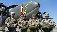 The Round Canopy Parachute Team (Norman Graf) Tags: plane airplane aircraft transport airshow gal lockheed warbird c60 woh goodtime lodestar parachuteteam c60a n60jt goodtimegal 4256005 258005 2015wingsoverhoustonairshow roundcanopyparachuteteam