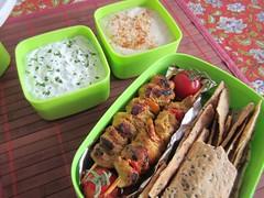 Bento #407 (Sandwood.) Tags: food cooking lunch meal bento lunchbox hummus meze skewers tzatziki mezze lavash