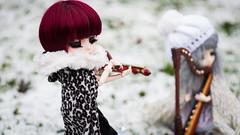 Winter music~ (MintyP.) Tags: winter musician 6 snow island photography doll whispering sony mohair groove pullip neige minty rs 58mm paja regen custo melba helios regeneration merl violon nex elwyna mintyp