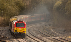 """DB Class 67 no 67015 at Clay Cross (Tupton) on 10-04-2016 with the return leg of the """"Maybach Yorky"""" Charter from York to Derby (kevaruka) Tags: railroad bridge england people sun color colour heritage history colors sunshine station yellow composition train canon eos flickr day colours tour cross diesel outdoor derbyshire traction rail railway sunny trains front class historic retro telephoto clay page western april vehicle 5d british locomotive network yorky chesterfield charter 52 hydraulic maybach the 400mm mk3 2016 d1015 tapton ef100400 f4556l tupton 5d3 5diii thephotographyblog 10042016"""