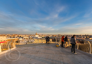 Seville Jan 2016 (5) 765  - Around and about the Metropol Parasol in Plaza de la Encarnacion at the other end of the day this time - waiting for the sunset