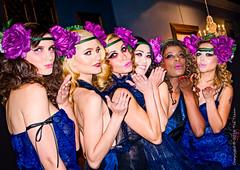 Kisses! (Tex Texin) Tags: show california blue flower girl fashion female clothing model glamour kiss designer bare group style vogue mountainview hautecouture shoulder runway headband sleeveless opalclub catwalkdowntheboulevard