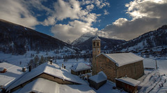 the church and the village ( Explore ) (rinogas) Tags: italy snow plan piemonte sestriere traverses pragelato valchisone valtroncea rinogas