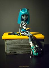 Other monster's diaries is a best school (dancingmorgana) Tags: blue monster cat hair grey high doll ooak wig custom werecat meowlody