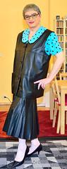 Ingrid021705 (ingrid_bach61) Tags: leather skirt blouse mature leder waistcoat bluse pleated weste faltenrock