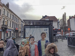 Before the storm. Schaerbeek, March 2016. (joelschalit) Tags: girls brussels fashion advertising women europe belgium muslim islam hijab diversity billboard gender schaerbeek multiculturalism brusselsattacks