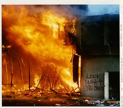 """Look what you created"" A convince store on fire during the 1992 Rodney King riots riots, Los Angeles [2000  1767] #HistoryPorn #history #retro http://ift.tt/1Td7NTh (Histolines) Tags: history fire during store los king 2000 angeles retro timeline 1992 riots rodney convince  1767 vinatage a historyporn histolines lookwhatyoucreated httpifttt1td7nth"