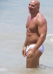 IMG_1167 (danimaniacs) Tags: shirtless man hot sexy guy beach smile pecs muscle muscular beefy bald trunks speedo swimsuit stud bulge mansolo