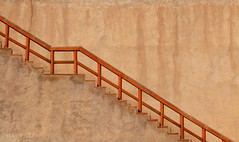 The stairs (Neal J.Wilson) Tags: travel brown lines architecture stairs fence buildings graphic walls simple oman forts nizwa
