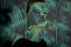Constance (antoine legond) Tags: portrait woman studio model pattern doubleexposure palmtrees earrings nophotoshop constance strobe