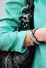 Snake print & diamante wrap bracelet, black slouch bag, mint biker jacket | Not Dressed As Lamb (Not Dressed As Lamb) Tags: classic fashion blog spring graphic style tshirt blogger fashionista tee