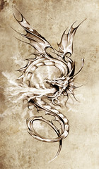 Sketch of tattoo art, stylish dragon illustration (noor.khan.alam) Tags: china new old pink light woman white flower art girl beautiful silhouette monster tattoo illustration hair paper asian design sketch flying spain ancient colorful pretty pattern child dragon dress graphic artistic drawing decorative background magic grunge traditional year cartoon chinese decoration creative style elf fairy fantasy claw clipart octopus warrior eastern mythology isolated element tatto