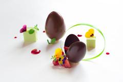 Chocolate Eggs (Dark Flash) Tags: food art robert girl marie dessert restaurant switzerland cafe women suisse chocolate egg fine young creation le chef bex