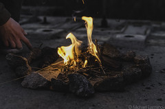 Bonfire in the night (rukiol) Tags: rock fire hand citylife flame bonfire stick countrylife