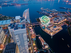 Nightfall (Ted Tsang) Tags: longexposure sea tower japan skyline night landscape harbor cityscape nightscape olympus  yokohama bluehour kanagawa  minatomirai  magichour landmarktower observationdeck  em1      21  1240mmf28