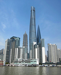 Shanghai Tower - 128 stories (Mary Faith.) Tags: china tower architecture buildings landscape shanghai centre transport skyscrappers pudong financial jinmao waterways