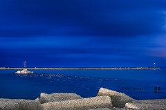 4 minutes of blue - long exposure (fabiocalandra) Tags: ocean city travel blue light sunset sea sky italy seascape water beautiful beauty architecture night del clouds long exposure harbour sicily sicilia golfo castellammare