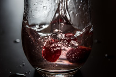 "My first ""strawberry splash"" (agnes.kubica) Tags: water strawberry drop strawbarry"