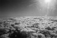 (frscspd) Tags: cloud sun film ice sunshine clouds flying pentax takumar flight xp2 flare lookingdown dust ilfordxp2 58mm mx ilford filmgrain throughaglassdarkly pentaxmx lowcloud cumuli takumar58mm ilfordxp2400bw 20160124 00390024