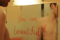 confidence (maikdoerfert) Tags: man beautiful youth reflections naked beard bathroom mirror nikon bath message skin chest young trust torso lipstick youngman confident confidence upperbody youarebeautiful d90 selfconfidence eartunnel nikond90
