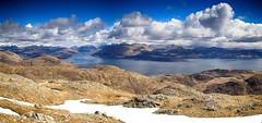 Loch Linnhe from Garbh Bheinn (OutdoorMonkey) Tags: panorama mountain landscape scenery view scenic bluesky panoramic glencoe coastline mountainside hillside viewpoint corbett ardgour lochlinnhe beinnabheithir garbhbheinn