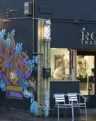 8689 Rooks Traditional Barber Shop (eyepiphany) Tags: mural barbershop portlandoregon decisivemoment baber wallmural divisionstreet hopperesque portlandmurals