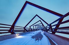 High Trestle Trail Bridge - Iowa (Tony Webster) Tags: madrid bridge winter sunset snow bikepath night lights us neon unitedstates dusk iowa led trail leds woodward bluehour atnight lighted bluelights biketrail litup pccb boonecounty uprr polkcounty dallascounty desmoinesriver desmoinesrivervalley centraliowa hightrestletrail hightrestlebridge hightrestletrailbridge hightrestle