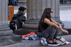 Brandenburg Columns (AntyDiluvian) Tags: trip woman berlin girl germany deutschland cigarette columns brandenburggate smoking rest resting pariserplatz 2015 parissquare