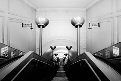 Going South (TS446Photo) Tags: world camera bw white black london art monochrome up station architecture club stairs train vintage lights mono nikon day pattern metro south escalator tube down londonunderground lamps dslr northern decor depths d600 1835mm nikond600 nikoneurope ts446