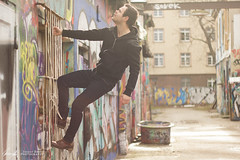 Adventure time. (InsaneAnni) Tags: people urban man guy germany deutschland person dresden outdoor menschen sachsen graffitti shooting mann saxon personen zigarette neustadt typ jungermann portraitierung