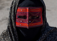 a bandari woman wearing the traditional mask called the burqa on a market, Hormozgan, Bandar Abbas, Iran (Eric Lafforgue) Tags: red people woman horizontal closeup outdoors persian clothing asia veil mask iran market muslim islam religion hijab persia headshot hidden covered iranian bazaar adults adultsonly oneperson islamic burqa ethnicity middleeastern frontview persiangulf sunni bandarabbas burka chador balouch hormozgan onewomanonly lookingatcamera burqua   embroidering 1people  iro straitofhormuz  unrecognizableperson colourpicture  borqe boregheh iran034i1908