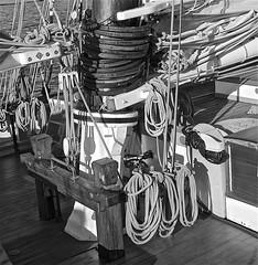 Sail Rigging Detail (sswj) Tags: bw america schooner americascup sailboat sailrigging boiat ship oldboat replica maritimemuseum sandiego composition availablelight existinglight naturallight dslr fullframe nikon d600 nikkor28300mm scottjohnson detail artisticphotography raw