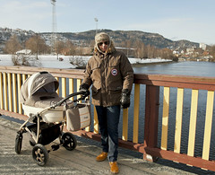 out for a walk on mothers and valentines day (mrs_fedorchuk) Tags: bridge dog pet baby yorkie norway mom parents outdoor stroller walk mommy father mother son scandinavia motherhood yorkshireterrier trondheim trondelag ourforawalk