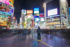 Self Portrait (nixnix15) Tags: light portrait japan night tokyo long exposure crossing ghost shibuya effect