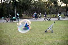 (Selva SP) Tags: parque mulher grama ibirapuera beb menina cor dentro carrinho parqueibirapuera bolha bolhadesabo gustavomorita selvasp