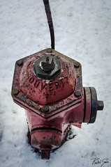 Fire Hydrant (rakelgoiri) Tags: winter red stilllife white snow cold ice metal fire rust outdoor firehydrant nikond7000