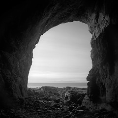 Cathedral Cave (Mark Rowell) Tags: bw 120 6x6 film mediumformat scotland highlands fuji hasselblad acros swc 903 eigg cathedralcave
