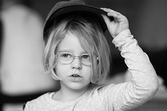 Take (kceuppens) Tags: portrait people blackandwhite bw pet monochrome glasses kid nikon child 85mm indoor kind cap mens nikkor zw d700 nikond700 nikkor8514afs