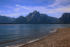 Mount Moran across Jackson Lake - Grand Teton National Park, Wyoming (danjdavis) Tags: lake mountains nationalpark lakeshore rockymountains wyoming mountmoran grandtetons grandtetonnationalpark jacksonlake