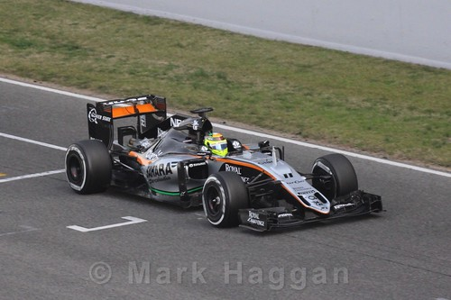 Sergio Perez in the Force India during Formula One Winter Testing 2016