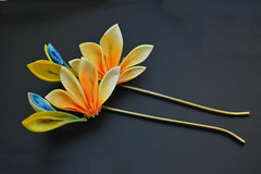 bird of paradise 02 (Bright Wish Kanzashi) Tags: flower yellow handmade silk exotic birdofparadise tsumami cadmium kanzashi customdesign zaiku
