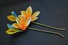 bird of paradise 02 (Bright Wish Kanzashi) Tags: flower yellow handmade silk exotic birdofparadise tsumami cadmium kanzashi customdesign zaiku