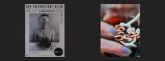 """Poster 2009 Rudolf Schwarzkogler """"eating"""" cables / Me Drinking the red wine in which I am dyeing Cotton Wool for Tapestry Diary 19. 2. Lenten Time Hokum Breatharianism Fasten Lichtesser. Baumwolle nicht Schafwolle färben in Rotwein für Tapisserie Tagebuch (hedbavny) Tags: vienna wien blue light red food white colour rot wool kitchen glass face mouth gold austria design licht österreich essen gesicht hand spiegel diary lips letter papyrus küche weaver blau trinken schrift farbe tagebuch glas weber redshift mund aktion teppich fasten mach lichterkette rosenthal baumwolle wolle wieneraktionismus nahrung tapisserie lebensmittel lippe szene weis inszenierung arbeitsraum aufzeichnung färben aktionismus parawissenschaft parapsychologie schwarzkogler pflanzenfarbe rotverschiebung rudolfschwarzkogler teppichweber hedbavny breatharians lichtnahrung pflanzenfärberei ingridhedbavny zeitlicheabfolge lichtfasten"""