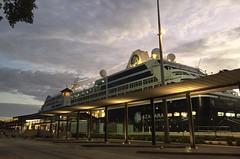 Azamara Quest - another angle (leeanne.bousamra) Tags: cruise light sunrise dawn boat ship earlymorning wharf cairns liner azamaraquest iphone6 cairnscruiselinerterminal