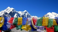 The Prayer Flags (pallab seth) Tags: travel sky india mountain lake snow cold tourism digital landscape religious nikon asia tour place wind flag peak buddhism tibet coolpix prayerflags hinduism sikkim prayerflag p3 northsikkim nikoncoolpixp3 nikonp3 prayingflags tibetianplateau gurudongmar indianlandscapephotography highestfreshwaterlakes