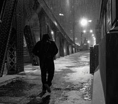 I know where I'm going (Adam D Dooley) Tags: city nightphotography bridge urban blackandwhite snow chicago man monochrome architecture us illinois alone cityscape unitedstates steel streetphotography 0214 oneman beems