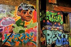 dark alley conversation (SqueakyMarmot) Tags: longexposure vancouver alley mural downtowneastside backlane westhastingsstreet
