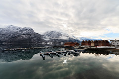 Luster (7ordek) Tags: blue mountain lake seascape mountains green nature water beautiful norway marina canon reflections landscape see harbor norge still marine no wide sigma atmosphere silence fiord fiords